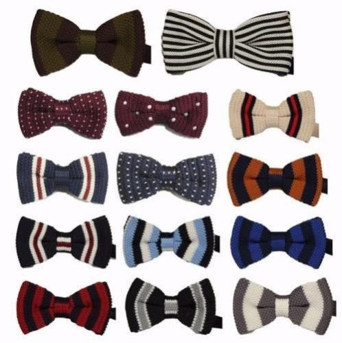 MENS BOYS PRE-TIED WEDDING EVENT PROM KINTTED KNIT BOW TIE CLIP DOTUK